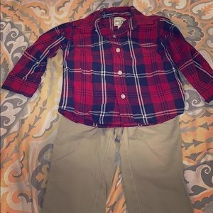 Children's place boys dress shirt and khaki set